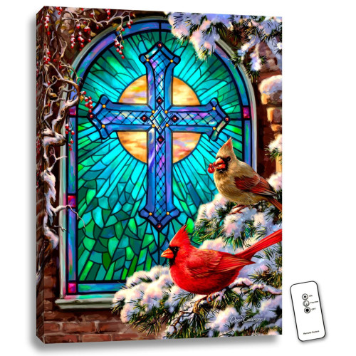 """24"""" x 18"""" Blue and Brown Cardinals Stained Glass Backlit LED Wall Art with Remote Control - IMAGE 1"""