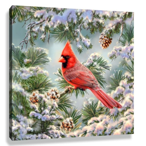 """Red and Green Snowy Pine Cardinal Pizazz Print Framed Wall Decor 10"""" x 10"""" - IMAGE 1"""