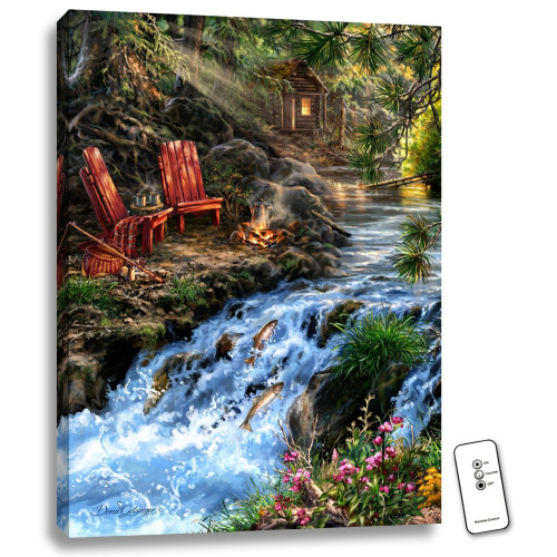 """24"""" x 18"""" Green and White The Fishing Hole Backlit LED Wall Art with Remote Control - IMAGE 1"""