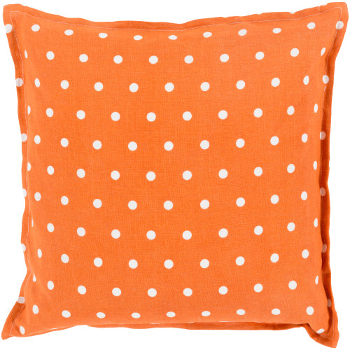 "22"" Burnt Orange and White Polka Dotted Square Throw Pillow Cover - IMAGE 1"