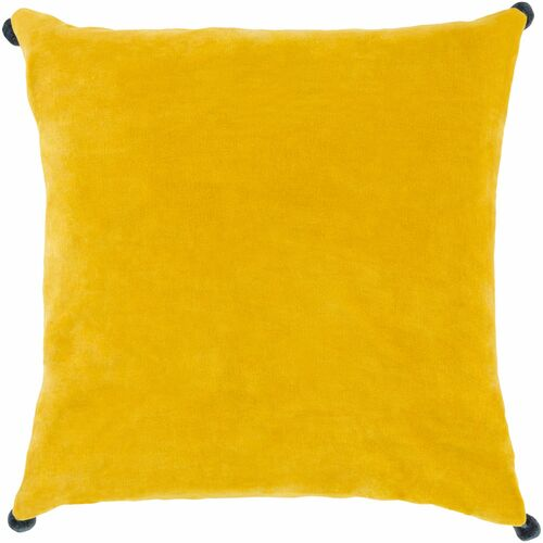 """20"""" Lemon Yellow and Navy Blue Solid Square Throw Pillow Cover with Pom Pom Edges - IMAGE 1"""