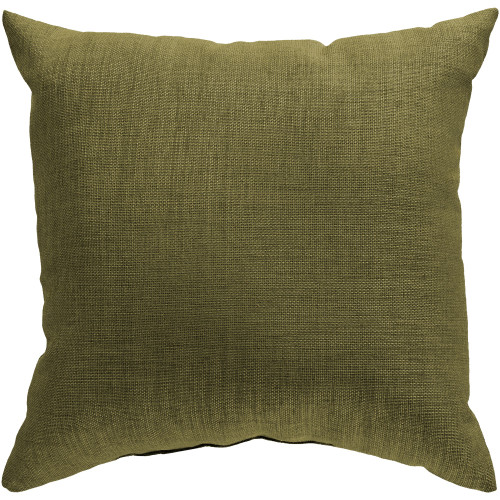 "18"" Olive Green Solid Square Throw Pillow Cover - IMAGE 1"