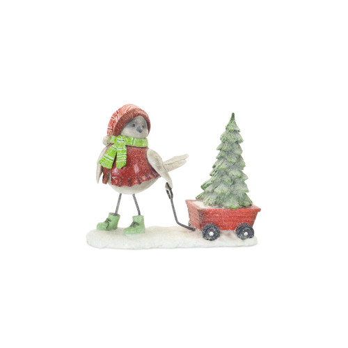 """6.5"""" Red and Green Snow Bird Pulling a Wagon Christmas Tabletop Figurine - IMAGE 1"""