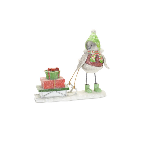 """6.5"""" White and Red Snow Bird Pulling a Sled Christmas Tabletop Figurine - IMAGE 1"""
