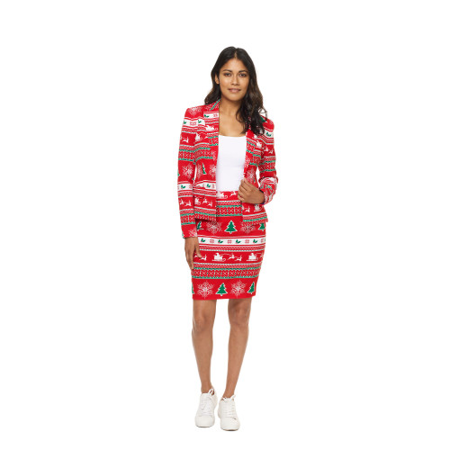 Red and Green Winter Woman's Adult Christmas Suit - US16 - IMAGE 1