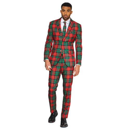 Green and Red Trendy Tartan Men's Adult Christmas Suit - US48 - IMAGE 1