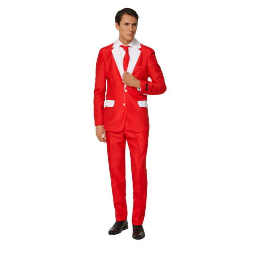 Red and White Santa Outfit Men's Adult Christmas Slim Fit Suit - Large - IMAGE 1