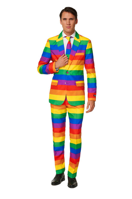 Yellow and Green Rainbow Men's Adult Slim Fit Suit - Medium - IMAGE 1