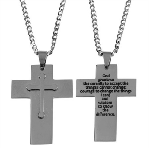 """24"""" Gray and Black Men's Stainless Steel Cross Necklace with Serenity Prayer - IMAGE 1"""