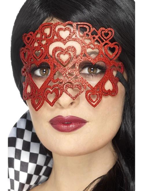 "18"" Red Heart Shaped Glitter Women Eye Mask Costume Accessory - One Size - IMAGE 1"