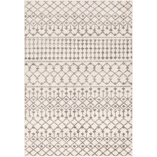 7.8' x 10.25' Linen White and Gray Southwestern Patterned Rectangular Area Throw Rug - IMAGE 1