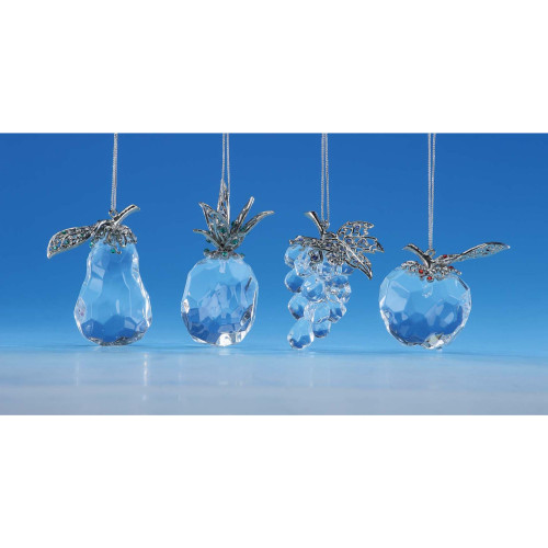 "Set of 8 Clear and Silver Fruits Christmas Hanging Ornaments 2"" - IMAGE 1"