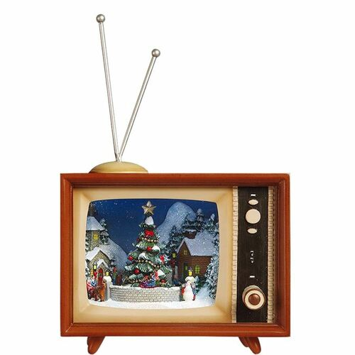 "Set of 2 Brown and Beige Classic Bluetooth Christmas Tree TV 8.50"" - IMAGE 1"