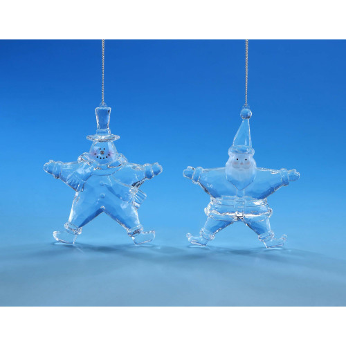 "Set of 4 Clear Santa and Snowman Star Hanging Christmas Ornament 5.25"" - IMAGE 1"