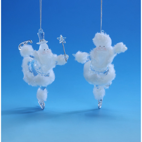 "Set of 4 White and Clear Ice Skating Santa Hanging Christmas Ornaments 6"" - IMAGE 1"