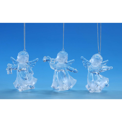 "Set of 6 Clear and Gold Cherub Triplet Hanging Christmas Ornament 7"" - IMAGE 1"