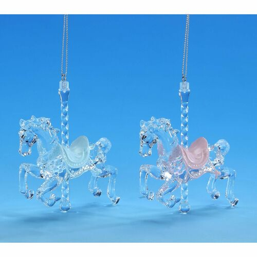 "Set of 8 Clear and Blue Carousel Horse Hanging Christmas Ornaments 9"" - IMAGE 1"