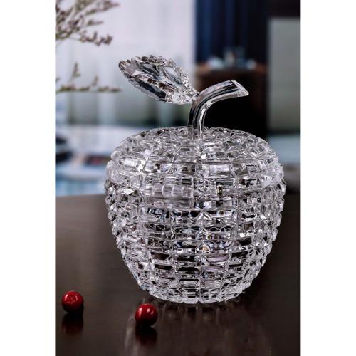 "Set of 4 Clear Diamond Cut Apple Shaped Jar 5.5"" - IMAGE 1"