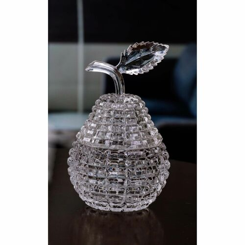 """Set of 4 Clear Crystalline Cuts Diamond Cut Pear Jars 7"""" - IMAGE 1"""