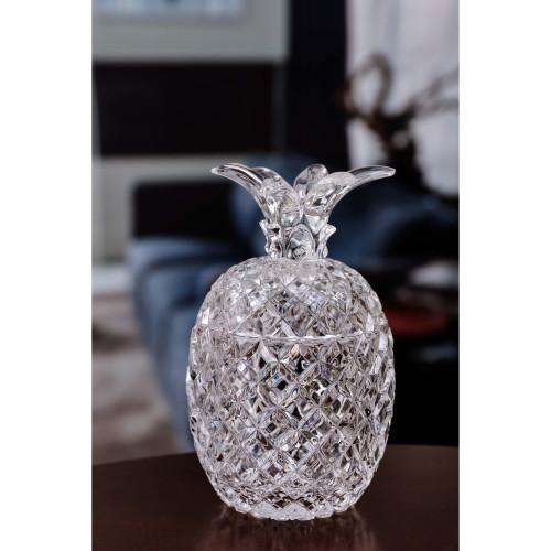 """Set of 4 Clear Diamond Cut Pineapple Jars 6"""" - IMAGE 1"""