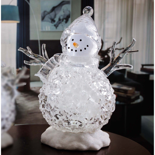 "Set of 2 Clear and Orange Contemporary Large Silver Glitter Snowmen LED Lighted Tabletop Decor 17"" - IMAGE 1"