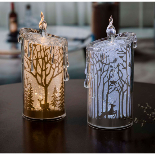 "Set of 2 Gold and Silver Glittering Scenery LED Lighted Candles Tabletop Decor 7.5"" - IMAGE 1"