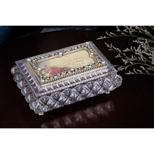 "Set of 2 Silver and Beige Diamond Cut Rectangular Jewelry Box 7"" - IMAGE 1"