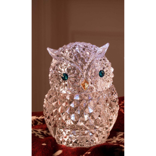 "Set of 2 Clear and Blue LED Lighted Diamond Cut Owl Jars 7"" - IMAGE 1"