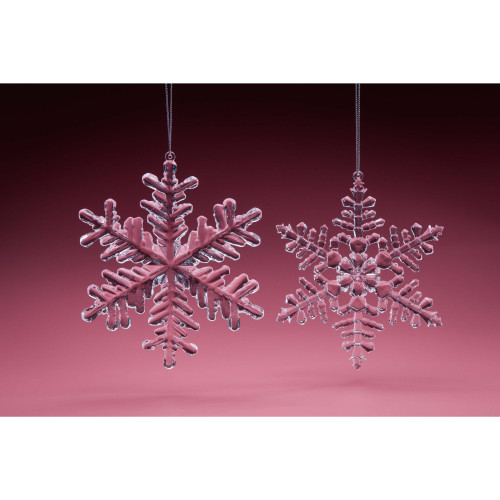 "Pack of 24 Clear Snowflake Christmas Hanging Ornament 12.5"" - IMAGE 1"