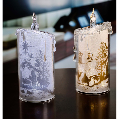 "Set of 2 Gold and Silver Glittering Nativity LED Lighted Candles Tabletop Decor 7.75"" - IMAGE 1"