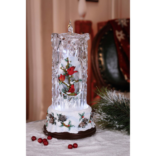 "Set of 2 Clear and Red Diamond Cut Candles with Cardinal Tabletop Decor 14.5"" - IMAGE 1"