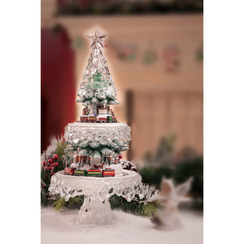 "20"" Clear and Red Contemporary Lighted Christmas Tree Village Tabletop Decor - IMAGE 1"