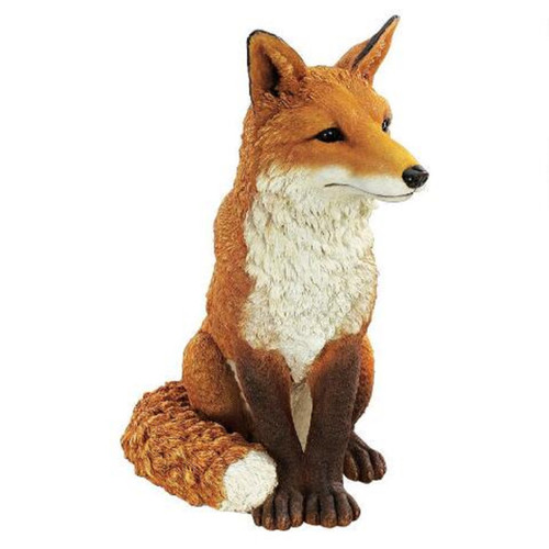 "18"" Sitting Fox Hand Painted Outdoor Garden Statue - IMAGE 1"