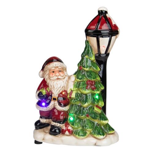 "10.75"" Musical LED Santa Light-Post Christmas Figurine - IMAGE 1"