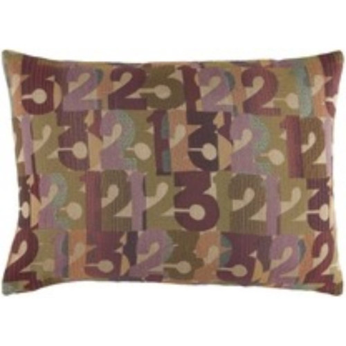 "19"" Purple and Beige Contemporary Rectangular Throw Pillow Cover - IMAGE 1"