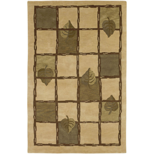 5' x 8' Geometric Green and Beige Hand Knotted Rectangular Area Throw Rug - IMAGE 1