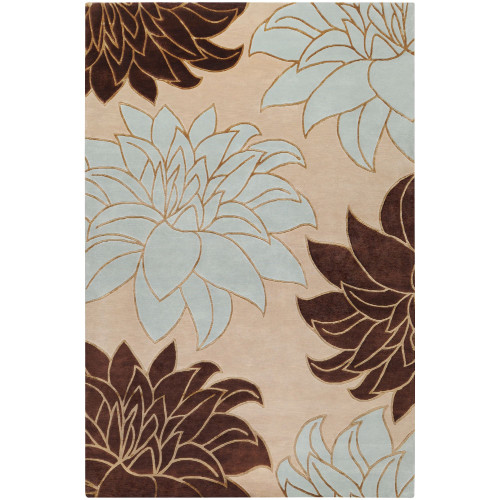 2' x 3' Floral Gray and Brown Hand Knotted Rectangular Area Throw Rug - IMAGE 1