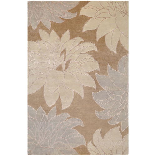 2' x 3' Floral Brown and Gray Hand Knotted Rectangular Area Throw Rug - IMAGE 1