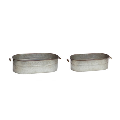 """Set of 2 Metallic Gray Country Rustic Oval Containers 8"""" - IMAGE 1"""