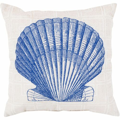 """20"""" Royal Blue and Ivory White Seashell Square Throw Pillow Cover - IMAGE 1"""