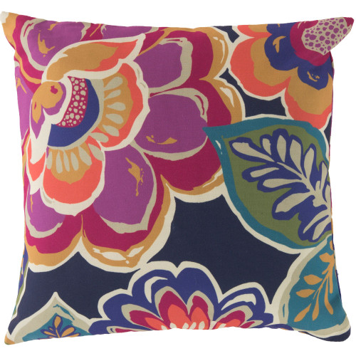 """20"""" Purple and Green Floral Square Throw Pillow Cover - IMAGE 1"""