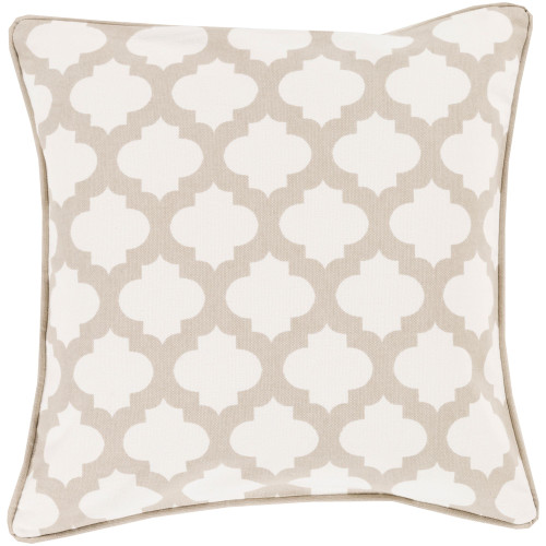 """20"""" Taupe Pink and Ivory Moroccan Square Throw Pillow Cover - IMAGE 1"""