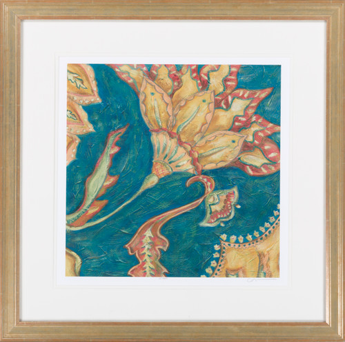 "Blue and Yellow Lapis Paisley Square Wall Art Decor 27"" X 27"" - IMAGE 1"