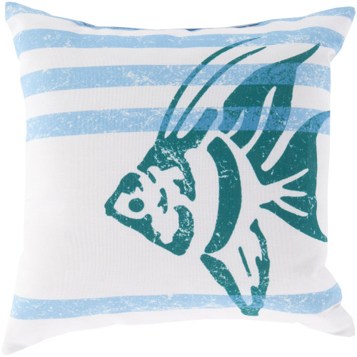 """26"""" Blue and White Striped Square Throw Pillow Cover - IMAGE 1"""