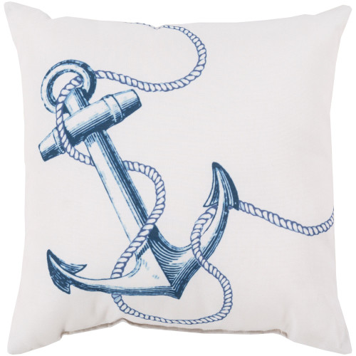 """20"""" Blue and White Anchor Printed Square Throw Pillow Cover - IMAGE 1"""