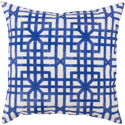 """26"""" Blue and Ivory White Geometric Square Throw Pillow Cover - IMAGE 1"""