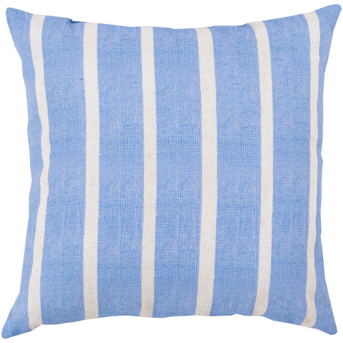 """26"""" Blue and Ivory White Striped Square Throw Pillow Cover - IMAGE 1"""