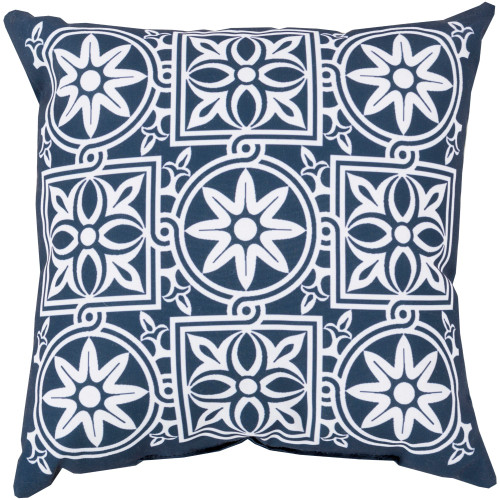 """20"""" Blue and White Floral Square Throw Pillow Cover - IMAGE 1"""