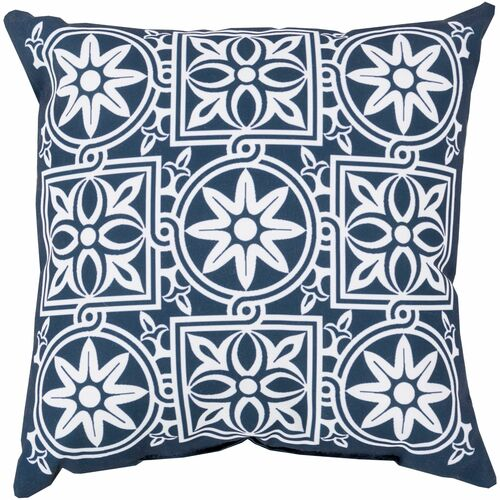 """18"""" Blue and White Floral Square Throw Pillow Cover - IMAGE 1"""