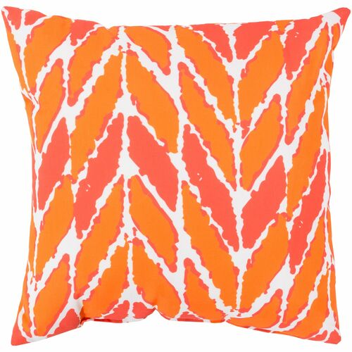 """26"""" Orange and White Contemporary Square Throw Pillow Cover - IMAGE 1"""